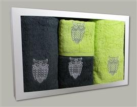 Komplet ręczników stal i limonka SOWY (12)