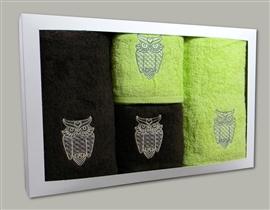 Komplet ręczników brąz i limonka SOWY (20)