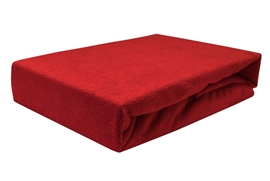 Zdjęcie Prześcieradło frotte z gumką 140x200 GRUBE czerwone