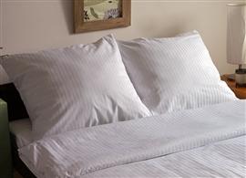 Pościel z adamaszku w pasy 160x200 biała