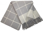 Koc wełniany CASHMERE MERINO 140x200 checked light grey